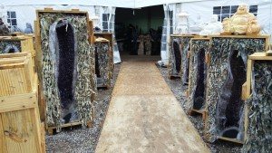 Giant brain-scrambling geodes lining the walkway into a vendor's tent