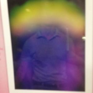 Green shirt, purple aura