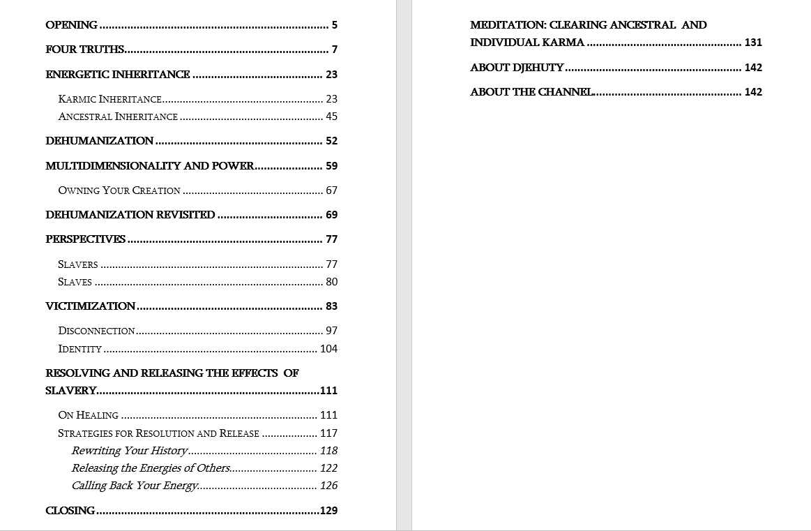 Slavery and Soul Table of Contents